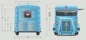 HY Van Dimensions - Back and Front View